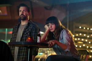 Jason Sudeikis and Anne Hathaway in Colossal.