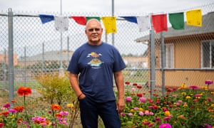 Calvin Malone, 67, a resident of the McNeil Island Special Commitment center, stands in a Buddhist meditation area he helped create at the center.