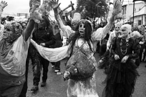 Ghoulish characters are a defining feature of a muerteada. Many of the costumes are extraordinarily elaborate.
