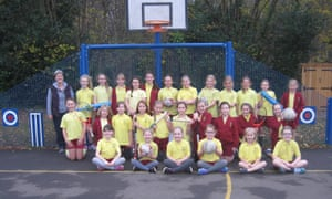 Girls taking part in PE at Rowledge primary school