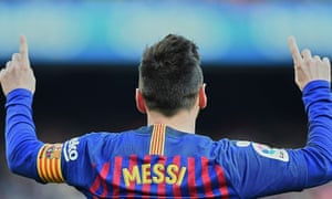 Lionel Messi playing for FC Barcelona against Espanyol in January.