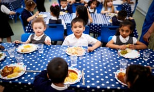 Children having their lunch at Stanley Road primary school
