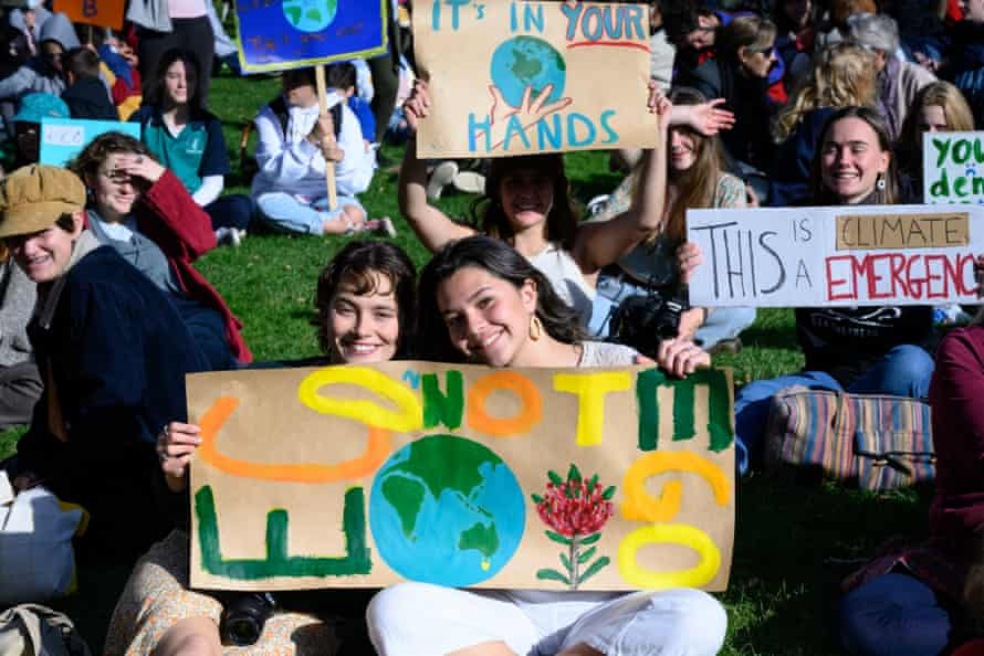 Hobart was one of the 47 sites around Australia where students and supporters gathered to protest global heating.