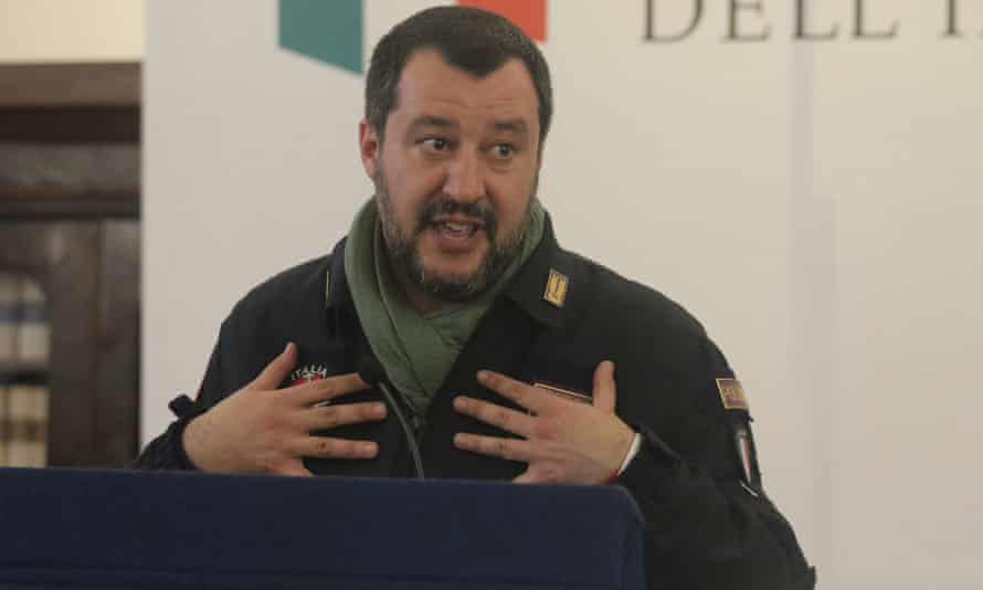 The Italian interior minister, Matteo Salvini