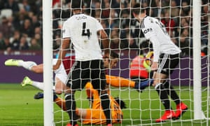 Javier Hernández scores West Ham's first goal to draw them level against Fulham at the London Stadium.