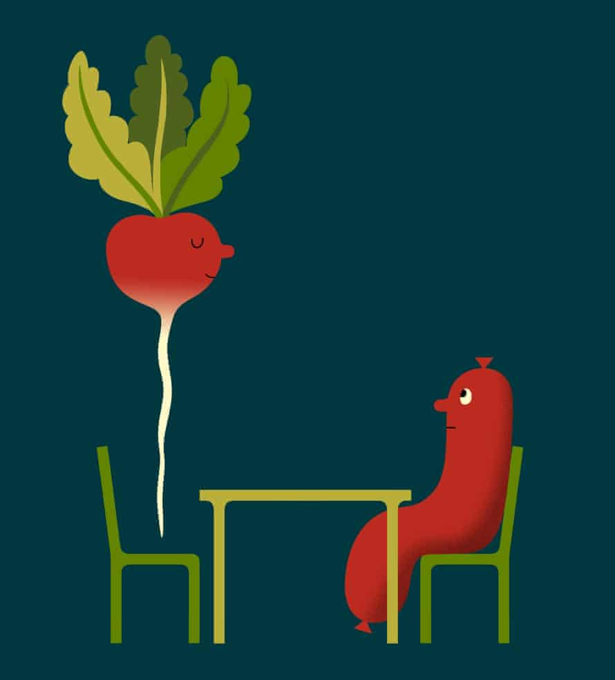Illustration of radish and sausage at a table