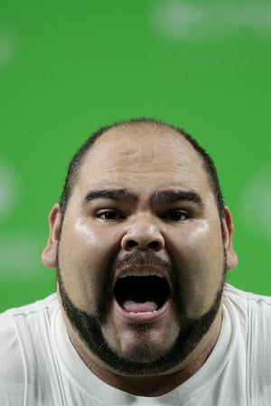 Jose de Jesus Castillo of Mexico celebrates in the men's -97kg powerlifting group A final at the Riocentro Pavillon 2