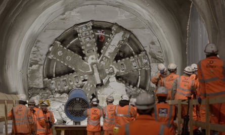 A Crossrail drill breaks through into the east end of Liverpool Street station in London