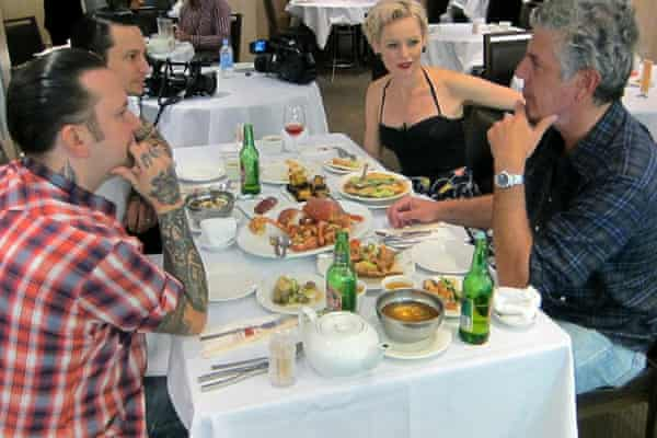 Anthony Bordain eating at Golden Century Seafood Restaurant with Ben, Elvis and his wife Sarah from Sydney restaurant Porteno.
