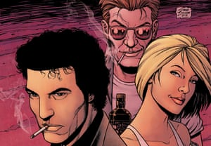 Cover artwork for Preacher comic by Steve Dillon. Preacher tells the story of the disillusioned Reverend Jesse Custer who goes in search of an absentee God.