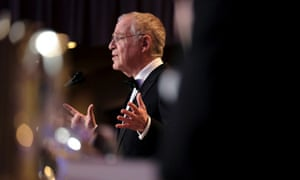 Author and historian Ron Chernow speaks at the annual White House Correspondents' Association Dinner in Washington.
