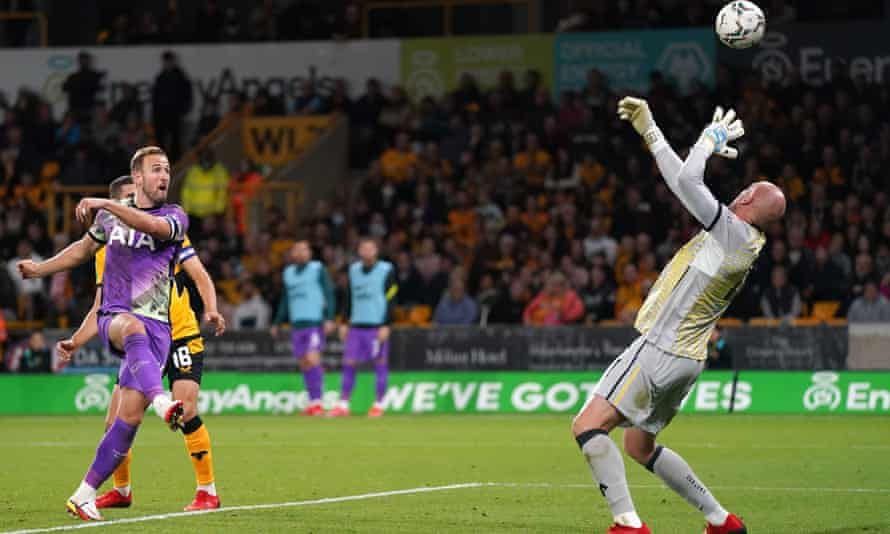 Harry Kane sees this shot saved by Wolves' John Ruddy but he did score in the Carabao Cup tie.