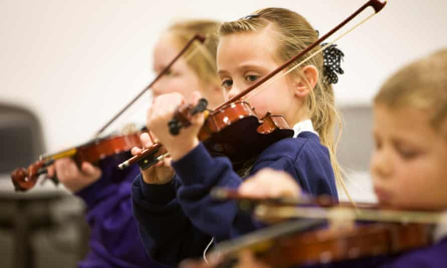 Children attending a music education project in Stirling, Scotland