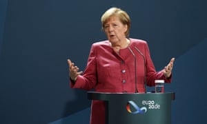 Angela Merkel gives a statement after a conference call with the mayors of the eleven biggest German cities on rising Covid-19 cases.