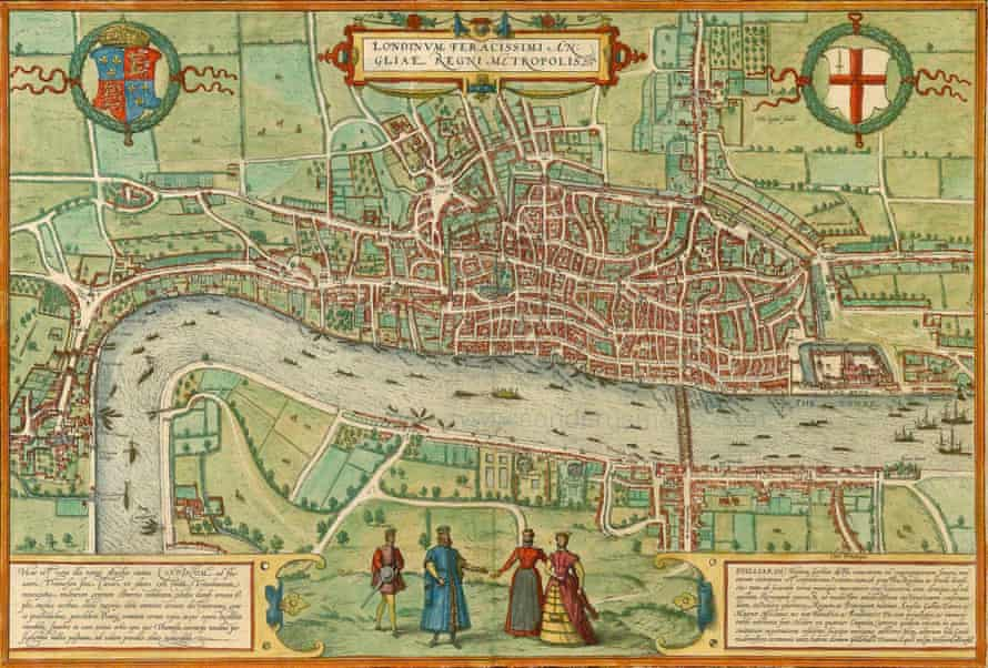 A 16th-century map of London by Braun and Hogenberg.
