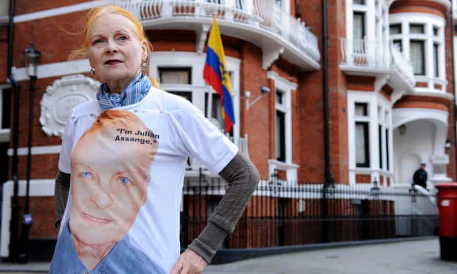 Vivienne Westwood wearing a pro-Julian Assange T-shirt outside the Ecuadorian embassy in London