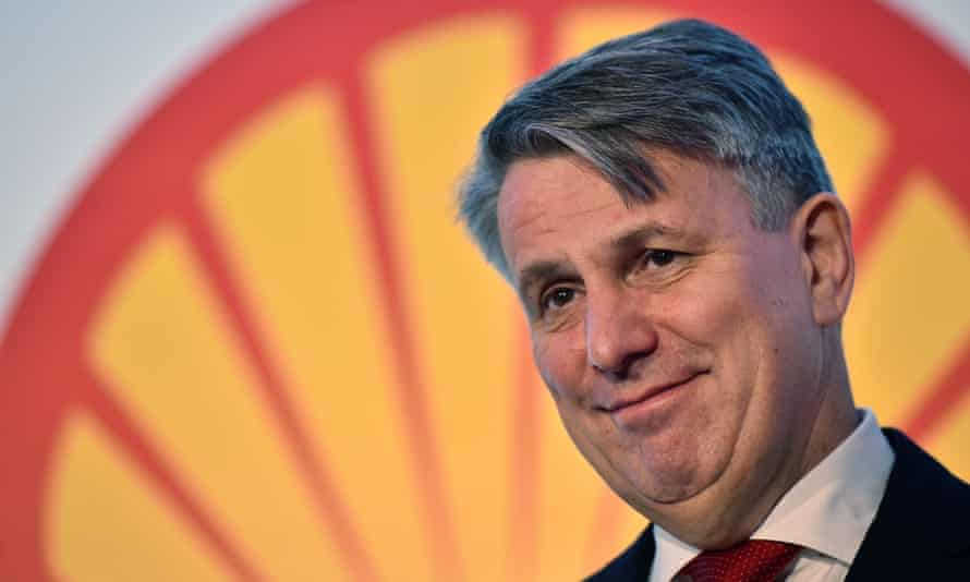 The Shell CEO, Ben van Beurden, addressing the press with news of the company's takeover of smaller rival BG.