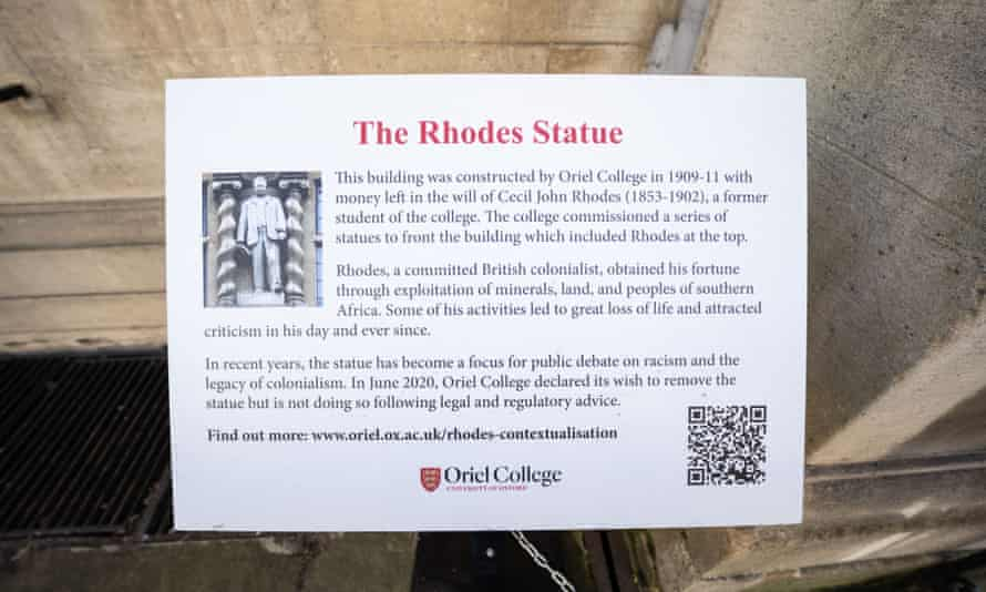 A plaque calling Cecil Rhodes a 'committed colonialist'.