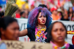A member of the Landless Workers Movement (MST) calling for gender equality in Brasilia, Brazil