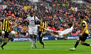 Raul Jimenez scores Wolves' second goal against Watford with a fine volley.