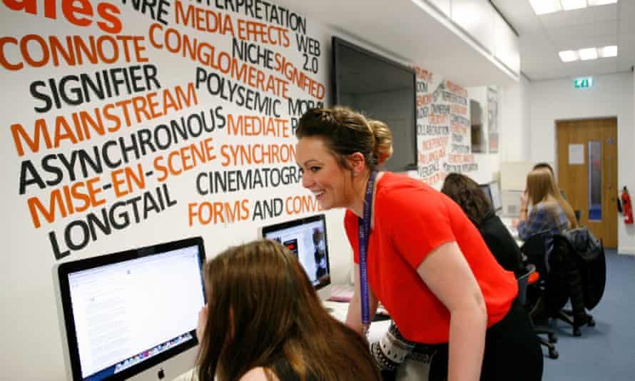 Nicola Naisbett with her media studies class at Queen Elizabeth sixth-form college in Darlington.