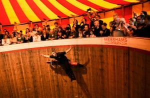 Margate, UK Jake Messham performs on his bike as part of the Messhams Wall of Death attraction as Dreamland Margate opens to the public. Billed as Britain's original pleasure park Dreamland re-opened with over 17 restored and retrofitted rides and amusements, after closing more than a decade ago