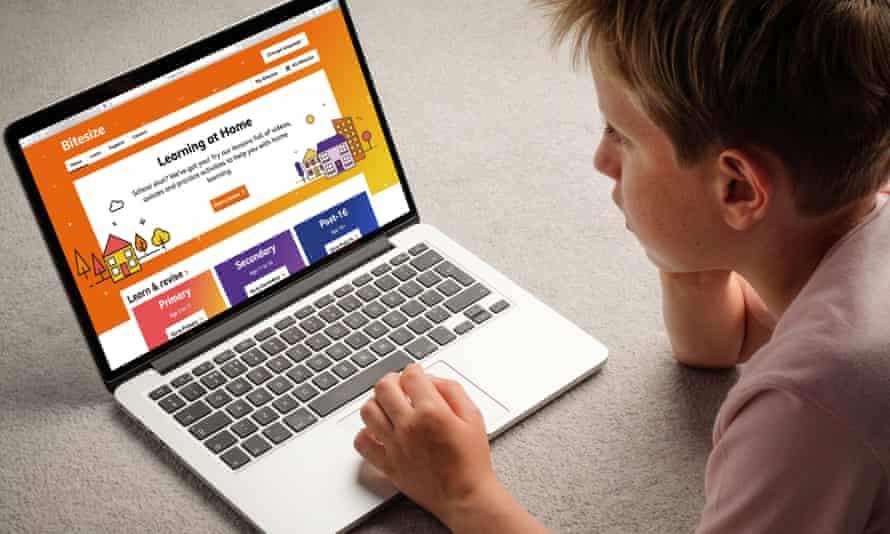 A boy using the BBC Bitesize website