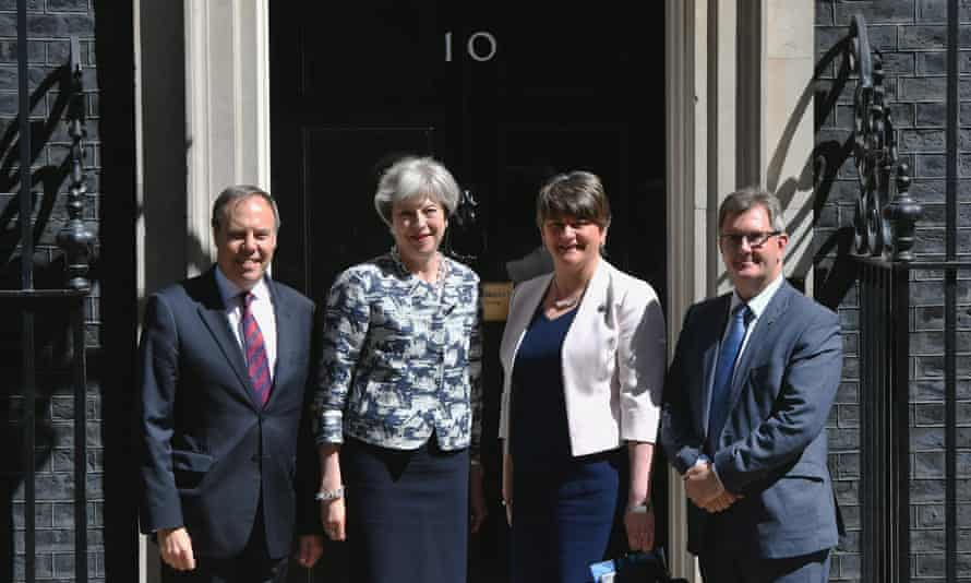 Theresa May with Nigel Dodds, Sir Jeffrey Donaldson and Arlene Foster