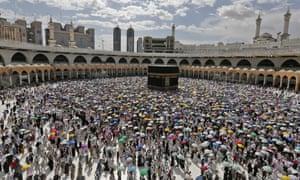 Muslim pilgrims circle around the Ka'bah in Mecca, Saudi Arabia in August last year