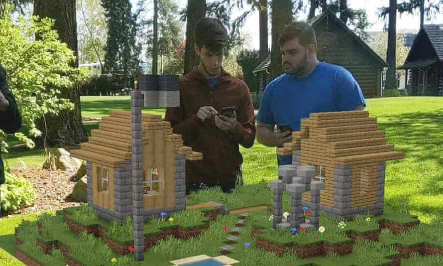 In Minecraft Earth, users can construct scale models on any flat surface; larger versions can then be placed in open areas for exploration and sharing