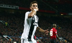 Paulo Dybala, celebrating here after scoring for Juventus at Old Trafford last season, could be a Manchester United player next season.