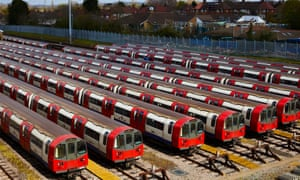 London Underground tube trains at Morden depot. London Underground is running a reduced service because of coronavirus.
