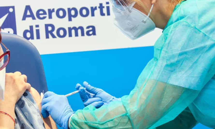 A coronavirus vaccination at Rome's Leonardo da Vinci airport