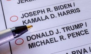 The presidential race between President Donald Trump and former Vice President Joe Biden, as seen on California's mail-in ballot