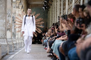 A model presents a creation from the spring/summer 2020 men's collection by Japanese designer Masanori Morikawa for Christian Dada during Paris fashion week.