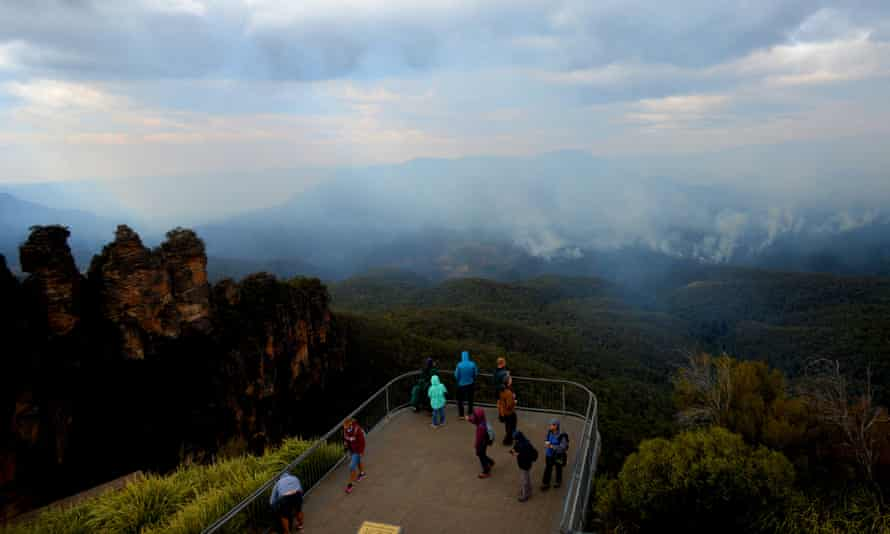 A bushfire rages near Katoomba in the Blue Mountains on Monday.