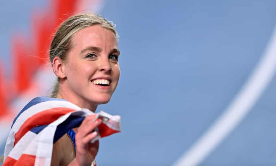 Keely Hodgkinson of Great Britain celebrates winning gold in the 800m final at the European Indoor Athletics Championship in March.