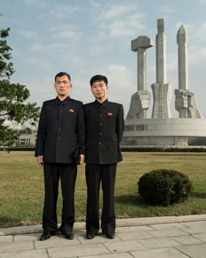 Gwang Chol and Ri Son Gyong pose in front of the Monument to Party Founding (October 2017)