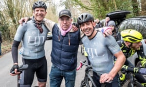 Andy Critchlow, left, with friends at the Wally Gimber Trophy road race.