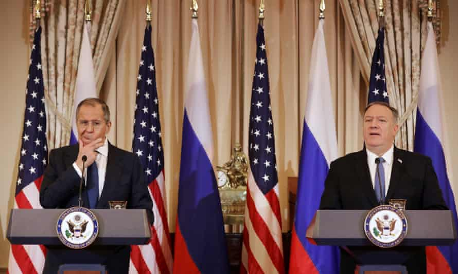 Sergei Lavrov and Mike Pompeo hold a joint news conference at the state department. Lavrov also met with Trump.