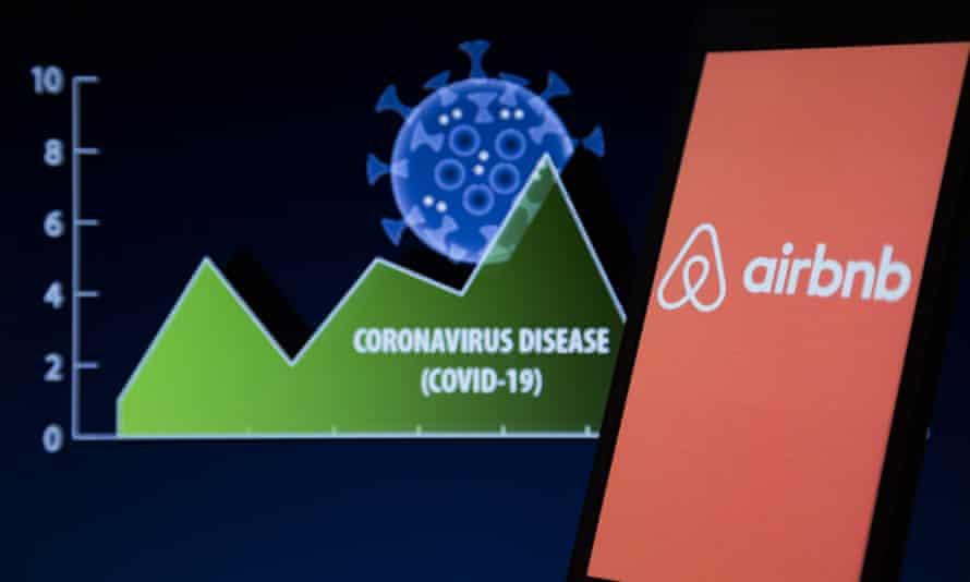 Airbnb logo over coronavirus graph