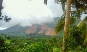 A view of the landslide in the central district of Kegalle.