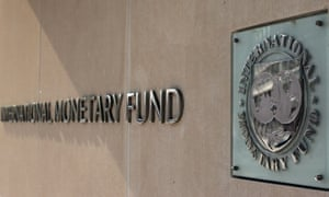 International Monetary Fund logo on Pennsylvania Avenue in Washington, DC.