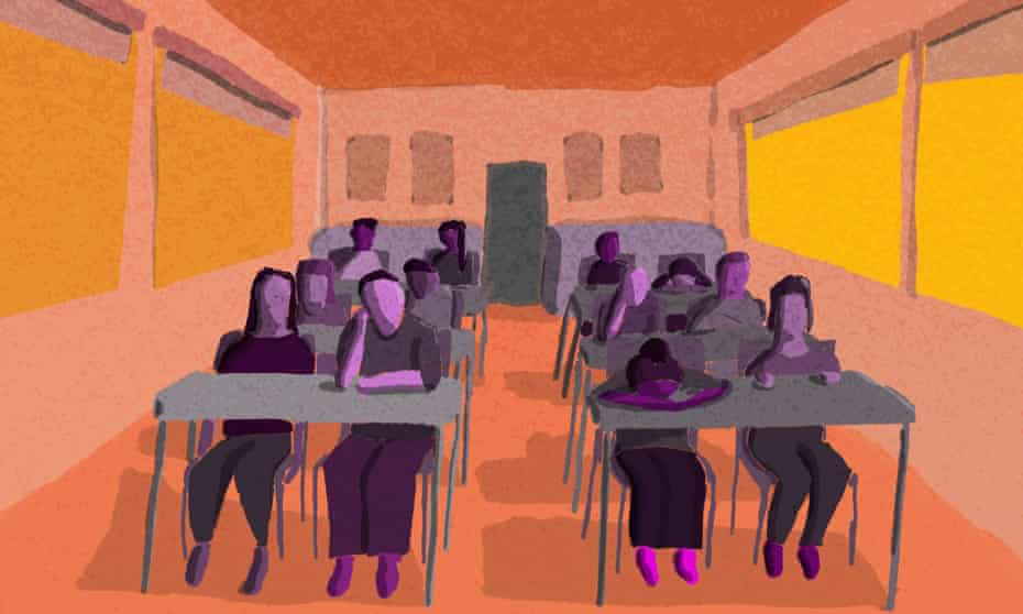 Illustration of students in a very hot classroom.