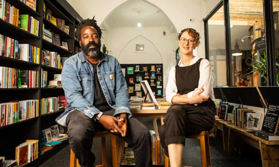 Malcolm and Charlie Richards photographed for the Observer in their bookshop by Antonio Olmos.