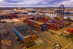 Containers at Tilbury port in Essex, UK, were moved to create a tribute to the NHS and key workers