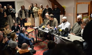 Lucé mosque leaders give a press conference on Sunday.
