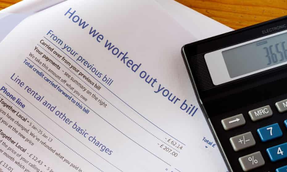 A BT phone bill and calculator