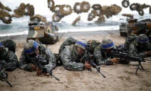 South Korean marines take part in a US-South Korea joint landing operation drill. Details of joint military drills were believed to be among documents hacked by North Korea.