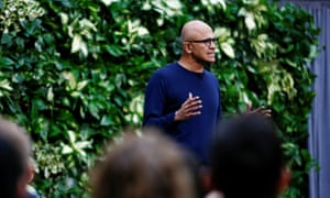 CEO Satya Nadella speaks as Microsoft announces plans to be carbon negative by 2030, in Redmond, Washington.